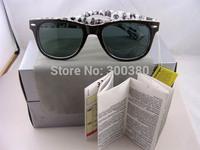 Hot Selling Men's/Woman's Glasses  2140 WAYFARER Sunglasses Black Frame Green Lens with Free Shipping