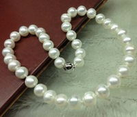Genuine 10mm near round white pearl necklace free shipping