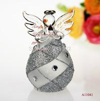 Cute Silver Glass angel Decor with heart, aeolian bells, Bar Chimes christmas home decoration, wedding decor, friend gift