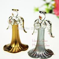 Handmade Glass angel Decor with heart, aeolian bells, Bar Chimes christmas home decoration, wedding decor, friend gift