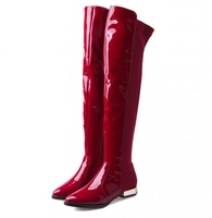 Plus Size 34-43 Brand Winter Women Genuine Leather Boots 2014 New Elastic Over the Knee Boots Motocycle Knight Riding Booty