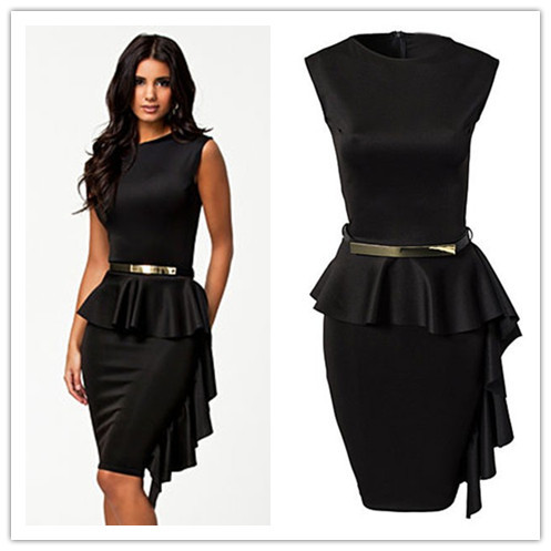 vestido de renda curto Black One-Side Draped Stylish Peplum Dress big size new fashion style sexy summer On formal occasions(China (Mainland))
