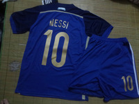 2014 Brazil World Cup Argentina away MESSI 10#  kids and youth soccer jerseys+Shorts .