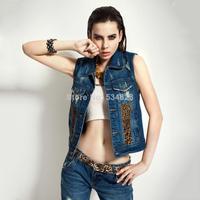 Vest  2014 sexy leopard print turn down collar pocket jeans wiastcoat  vest women