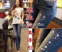2014 Summer Spring New Female Hole Jeans Girls Slim Thin Feet Pencil Pants Womens Tide 9 Points Capris Denim Fake Diamonds