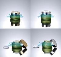 EM2 Capacity 30G green frosted glass cream jar,cosmetic container,cream jar,Cosmetic Jar,Cosmetic Packaging,glass bottle