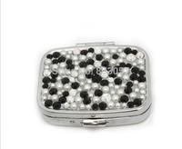 2014 Hot Free shipping(50pcs/lot) Wholesale Fashion Square crystal pill box cute pill case