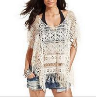 fashion women zara2014 Chic Lady Girls Summer Blouses Crochet Knit Tops Loose T Shirt