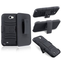 Black Hybrid Skin Case with Stand and Black Holster for Samsung Galaxy Note II/N7100