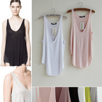 Fashion Summer Woman Lady modal Sleeveless Blouse V-Neck Candy Vest Loose Tank Tops T-shirt