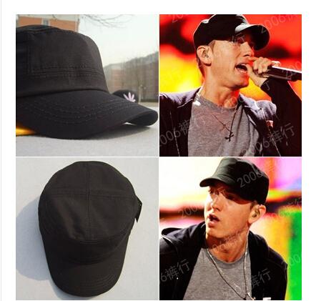 Free shipping The European and American fashion street snap eminem eminem pure hip-hop flat hat cap private joker black top hat(China (Mainland))