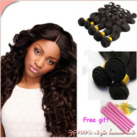 ON SALE!! FREE GIFT!! Free shipping by DHL 100% brazilian virgin hair body wave 100g=3.5ounces/pc 3pcs/lot natrual color
