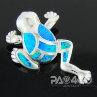 Pacific Blue Fire Opal Silver  Fashion  Jewelry Women & Men Frog Pendant OCP0175L  Wholesale & Retail