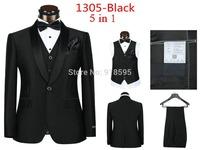 2014 Fashion Men's The Wedding Dress Set (jacket + Pants + Vest + Tie + Scarf) Free Shipping Promotion