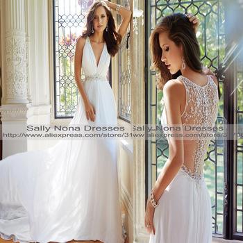Новое поступление V шеи видеть сквозь кружево аппликации вернуться с бусины , интернет свадебное платье 2014 с поезд свадебные платья - 18
