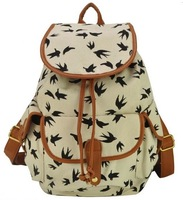 2014 new women ladies Cute canvas printing backpack school bag LF06780