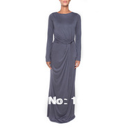 long sleeves slim muslim dress, RUCHED ABAYA,high quality dubai abaya,jilbab, islamic abaya,color blocking big skirt sweep,grey