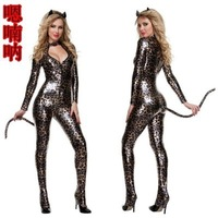 Sexy Lingerie Leather wild leopard clothes pole dancers uniform paint cat women SM costumes