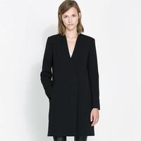 Free shipping  2014 autumn and winter Double popper long-sleeve medium-long women's coat female slim trench lady V-neck overcoat