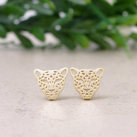 New 2014 Hot Fashion 18k Gold Silver plated Tiger Hole Stud Post Earrings Leopard  Earrings  Bridesmaid Gift  for Women