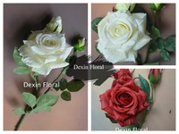 High Quality Artificial Real Touch Latex Silk Roses in Red/White For Wedding Bouquets/ Centerpieces
