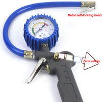220PSI Auto Car Bicycle Tire Pressure Gauge Meter Air Inflator Gun Flexible Hose