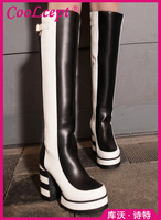 CooLcept Free shipping over knee long boots natural real genuine leather boots women boot high heel shoes R4850 EUR size 34-39