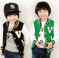 "Baby boy spring and autumn coat ""V"" print striped long sleeves sports jacket wt-2330"