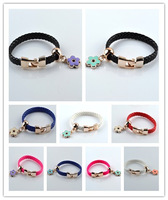 9pcs Mix New Fashion Imitation leather Jewelry pendant Twisted Chain Charm Bracelets bangles for women Resin Free Shipping
