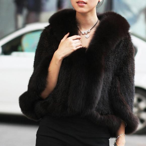2014 New Genuine Knit Mink Fur Shawl Poncho With Fox Trimming Real mink fur jacket Fashion Women TP6002(China (Mainland))