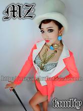 New Sexy Dj Costume Women s Fashion Fluorescent Orange Pink Patchwork Dovetail Suit Costume Singer Nightclubs