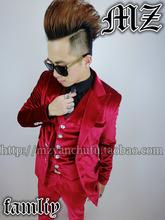 S XL HOT New Fashion Tide DJ Rain La Song Deep Red Velvet Suits Fabric Singer