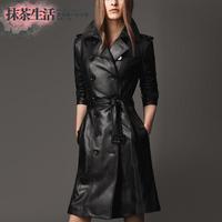 Free shipping 2014 autumn and winter new fashion women's plus size slim leather coat overcoat female medium-long trench Women
