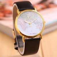 New arrival World Earth Map watch Women fashion leather strap Unisex Quartz Watch, wrist watches women Ladies,free shipping