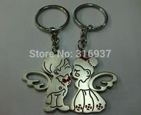 New Couple Angel Wedding Nice Present Zinc Alloy Key Ring For Lover 2 PCS/ Pair  Keyring