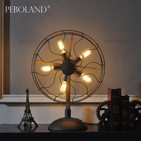 Iron American style decoration fan table lamp