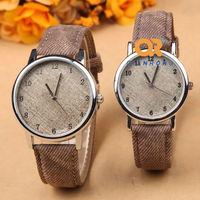 Hot Sale Multi Colors 2014 NEW Fashion Men Women special Denim Fabric couple Vintage Classic Quartz Wrist Watch F17-C052-1#