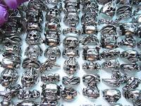 10pcs Men's Stainless Steel Skull Ring