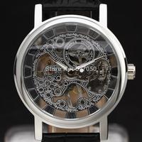 new 2014 winner fashion men women ultra thin leather band tourbillon classic gift design hand wind mechanical wrist watch