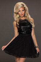 2014 New Sexy Women Sleeveless Chiffon Cocktail Ball Club Party Prom Dress 21524 Black Mesh Stripe Skater Party Short Mini Dress