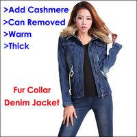 2014 Autumn Winter Female Fur Collar Denim Jacket Add Cashmere Thick Warm Jeans Outerwear Plus Size Denim Coats Women Clothing