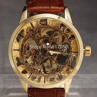 2014 new fashion men male gold case SWOR skeleton clock mechanical hand wind leather strap business classic retro wrist watch