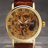 2014 new fashion hot sale SWOR brand design clock military men leather strap mechanical hand wind wrist male watch gift