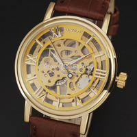 hot selling 2014 new fashion men hand wind watches leather strap casual famous brand SWOR wrist watch