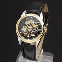 new 2014 winner fashion men women hollow design leather casual famous mechanical hand wind mechanical wrist watch