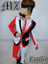 New Men s Singer DJ Bigbang Zhi Long GD Red And Black Suit Jacket Stitching Suit