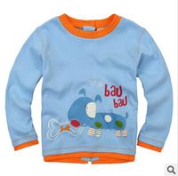 2014 new autunm tshirt boy tshirt kids cotton long sleeve fashion cartoon tshirt boy embroidery after cardigan 5pcs/lot