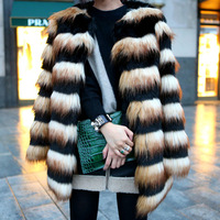 Faux Fur Winter OuterWear Warm 2014 Cool Fashion Tops Plus Size S-XL Spell Color Contrast Color Stripes Really Fake Fur Coat