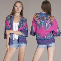 New boho kimono Colorful Tribal Print Bohemian Print Kimono free shipping