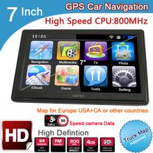 New 7 inch HD Car GPS Navigation 800M/FM/8GB/DDR3  2014 Maps For TomTom Russia/Belarus/Kazakhstan Europe/USA+Canada TRUCK Navi(China (Mainland))